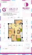 温资金港中心3室2厅1卫89平方米户型图