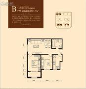 加莱印象2室2厅1卫89平方米户型图
