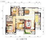 时代紫林3室2厅2卫95平方米户型图