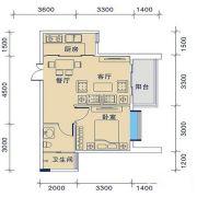 御�Z华庭1室2厅1卫53平方米户型图