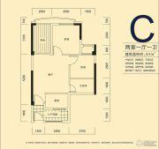 君和君泰2室1厅1卫61平方米户型图