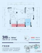 兴嘉・悦湖山2室2厅2卫101平方米户型图
