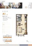 鸿坤・理想澜湾1室1厅1卫39平方米户型图