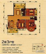 世纪金郡3室2厅2卫117平方米户型图