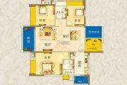 枫�Z美地园3室2厅2卫115平方米户型图