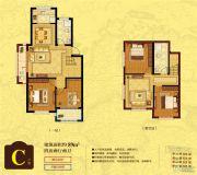 香缇墅10184室2厅2卫89平方米户型图