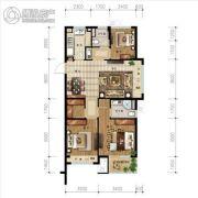 金地艺境3室2厅2卫90平方米户型图