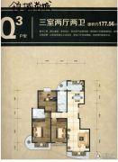 领域尚城3室2厅2卫177平方米户型图