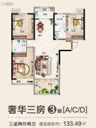 九龙广场3室2厅2卫133平方米户型图