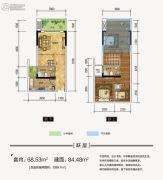 江厦星光汇3室2厅2卫68平方米户型图