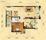 福庆花雨树2室2厅1卫85平方米户型图