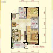 保利紫荆公馆2室2厅1卫90平方米户型图