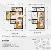 白金壹号2室3厅2卫100平方米户型图