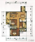 锦发君城3室2厅2卫106平方米户型图