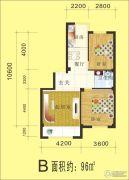 金丰・半山庭院2室2厅1卫96平方米户型图