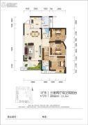 江岸国际3室2厅2卫111平方米户型图