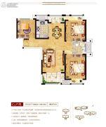 上海公馆3室2厅1卫108平方米户型图