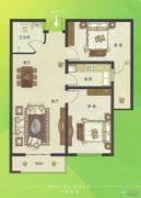 U乐广场2室2厅1卫96平方米户型图