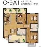 美伦山水华府3室2厅2卫113平方米户型图