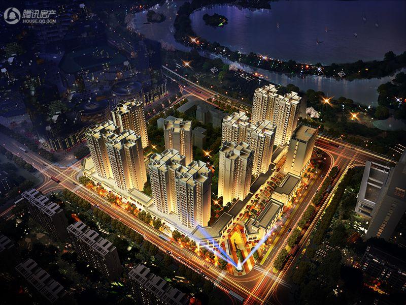 凯旋国际公馆夜景鸟瞰图
