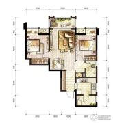 万科城2室2厅1卫64平方米户型图