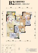 恒邦・时代青江二期3室2厅2卫86平方米户型图
