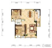 金安东诚2室2厅1卫90平方米户型图