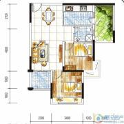 金碧丽江西海岸2室2厅1卫78平方米户型图