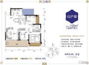 健康花城3室2厅2卫120平方米户型图