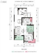 中航花园2室2厅1卫89平方米户型图