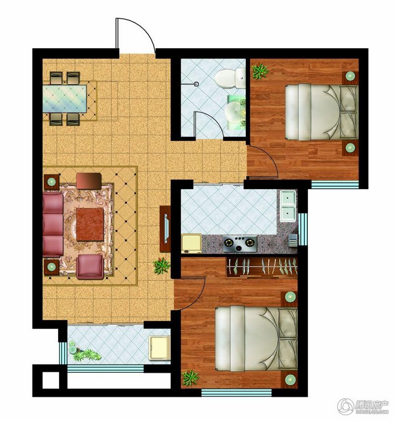 万国园奥洲领域 2-2-402 2室2厅1卫 91.23平