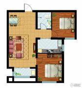 万国园奥洲领域2室2厅1卫91平方米户型图