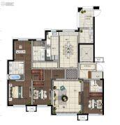 金地名著3室2厅2卫120平方米户型图