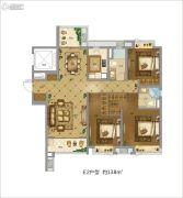 地铁万科时代广场3室2厅2卫138平方米户型图