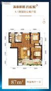 温泉新都孔雀城2室2厅1卫87平方米户型图