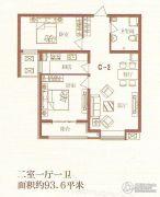 荣联天下城2室1厅1卫93平方米户型图
