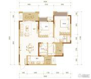 金科时代中心3室2厅2卫88平方米户型图