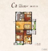 河枫御景3室2厅2卫125平方米户型图