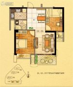 金紫世家2室2厅1卫79平方米户型图