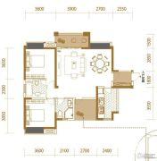 香江华府2室2厅2卫108平方米户型图