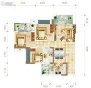 华联城3室2厅1卫98平方米户型图