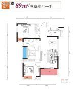 光谷悦城3室2厅1卫89平方米户型图