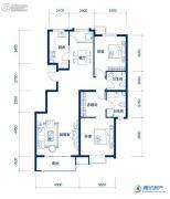 海岸国际2室2厅2卫123平方米户型图