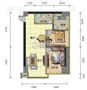 昆仑国际2室2厅1卫101平方米户型图