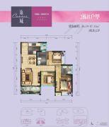 国际康城3室2厅2卫87平方米户型图