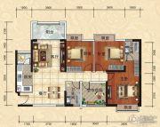 天湖御林湾3室2厅2卫128平方米户型图