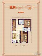 象博豪庭2室1厅1卫91平方米户型图