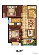 万国园白金汉府2室2厅1卫85平方米户型图