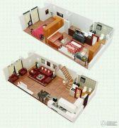 悠族2室2厅2卫45平方米户型图