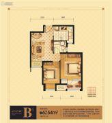 荣盛坤湖郦舍2室2厅1卫67平方米户型图